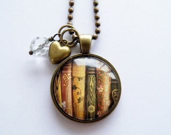 Book Necklace - Book Jewelry - Librarian Pendant - Gift For Writer - Bibliophile - Book Lover Necklace - Literary Jewelry - Library Book (1)