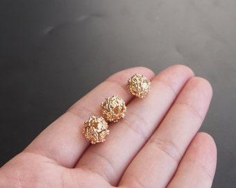 2pcs 10mm 24K Gold filled Brass Hollow Beads (#10001077)
