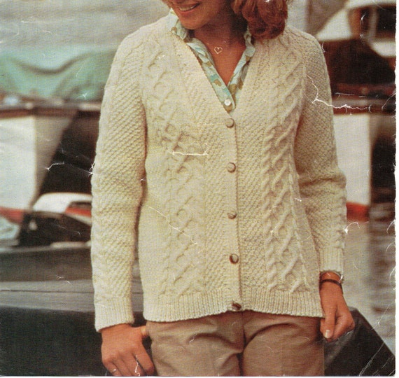 Vintage Aran Cardigan Knitting Pattern : womens aran cardigan knitting pattern vintage 1970s by ...