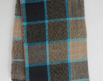 Handwoven Tan and Black Plaid Kitchen Towel