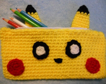 Pikachu Inspired Crochet Pencil Case / Pouch from Pokemon