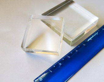 Acrylic block for use with small clear stamps. 1x1in, 2.5cm x 2.5cm, 3cm x 3cm, 4cm x 4cm, 5cm x 6cm, 5cm x 8cm