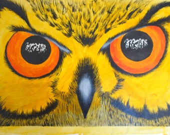 owl eyes canvas acrylic, pastel and Indian Ink painting