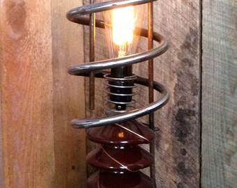 Genesis- table top lamp from repurposed scrap metal