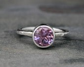 Lavender Amethyst Ring, Sterling Silver, Faceted Gemstone, Purple Radiant Orchid Violet Jewel, Hammered Ring Band, Solitaire Statement Ring