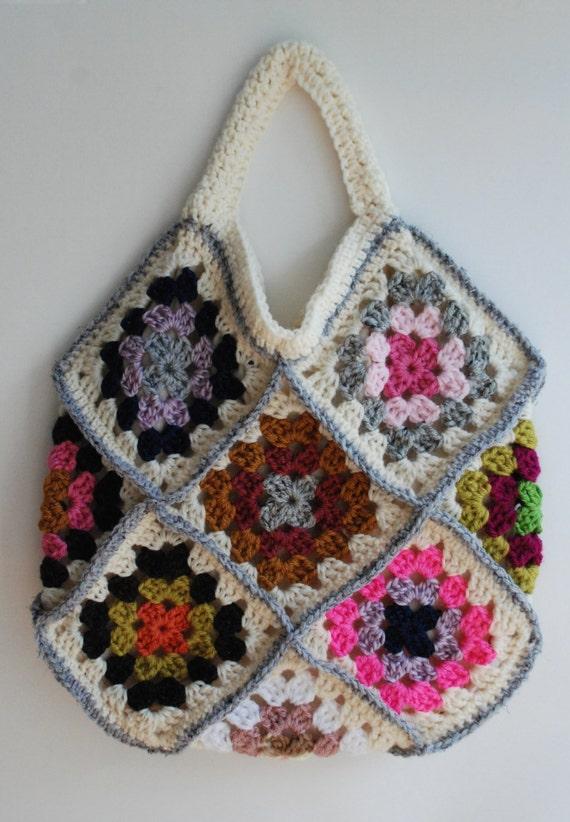 Crochet purse granny square bag