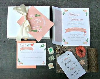 Wedding Invitations. Wedding Invites. Peach Wedding Invitations. Wedding Invitations - Modern Floral