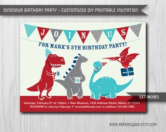 Dinosaur Birthday Party Invitation - 5x7 Inches - Digital File - Print Your Own Item #133E