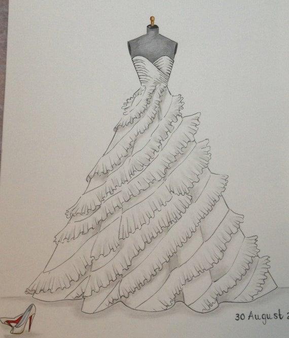 Custom Wedding Dress Sketch Wedding Dress Hand Drawing Say
