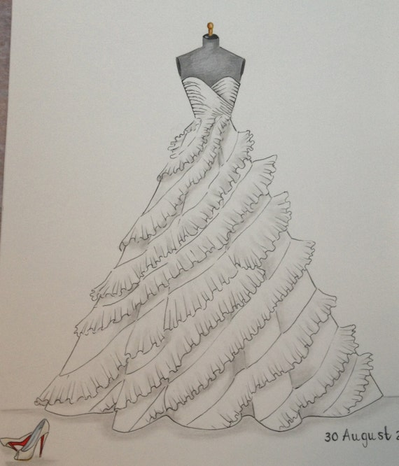 Custom wedding dress sketch wedding dress hand drawing say like this item junglespirit Images