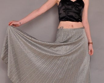 Vintage Silver Lurex Maxi Skirt // 70's Permapleat Disco Skirt / M L