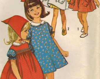1960s Simplicity 5948 Vintage Sewing Pattern Girl's Dress, Pinafore, Scarf Size 4, Size 6