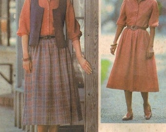 1970s Simplicity 8727 UNCUT Vintage Sewing Pattern Misses Skirt, Blouse, and Vest Size 16 Bust 38