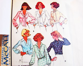 1970s Blouse Pattern Misses size 14 Bust 36 Womens Long Sleeve Blouse with Scarf Collar Monogram Transfer Vintage Sewing Pattern 70s