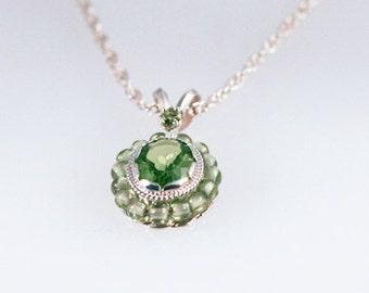 Peridot Bead Silver Necklace