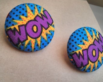 Comic WOW Blue Cotton Fabric Large Button Ear Studs