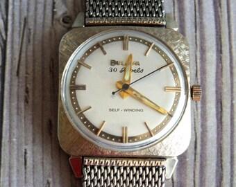 Vintage Bulova Self Winding 30 Jewel 1960s Wrist Watch by avintageobsession on etsy