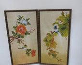 Pictures Asian Painting on Fabric in Bamboo Look Frames