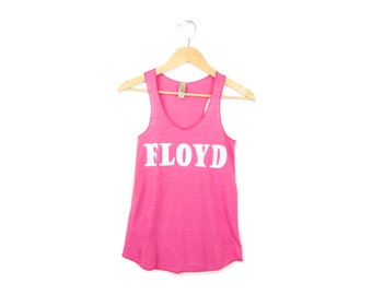 Pink Floyd Tank - Racerback Scoop Neck Long Swing Tank Top in Heather Pink and White - XS-2XL