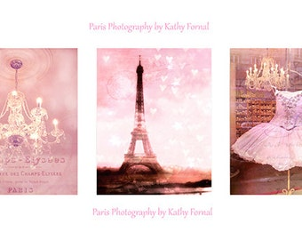 Paris Photography Print Set, Paris Baby Girl Nursery Decor, Paris Pink Shabby Chic Wall Art, Paris Ballet Chandelier, Paris Pink Wall Art