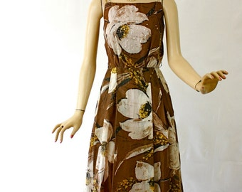 Vintage 60s Party Maxi Dress Adde of California Sheer Brown Cotton Floral w Rhinestones Pearls
