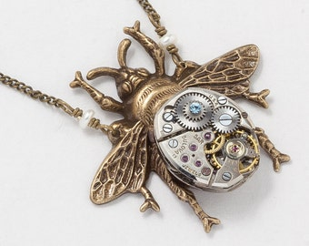 Steampunk Jewelry Steampunk Necklace gold bumble bee with Vintage silver watch movement & pearl, blue crystal Victorian pendant Statement