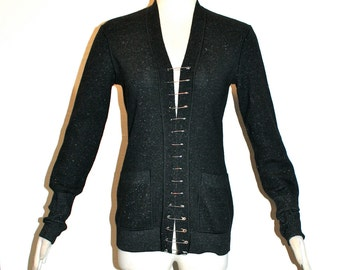 Jean Paul GAULTIER MAILLE Vintage Cardigan Safety Pin Fastened Sweater - AUTHENTIC -