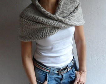 Hand Knit Chunky Loop Scarf ,Cape Hood Cowl Shawl Neckwarmer Neutral Beige, Winter Accessories