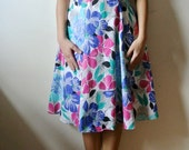 Vintage Floral Print Dress Sleeveless Flower Pattern Dress Size Large Gift For Her