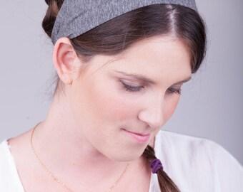 Grey Jersey headband, adult headband women, adult headband flower, women's grey headband