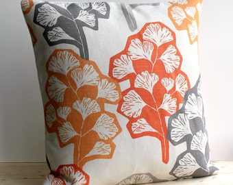 Contemporary Cushion Cover 16x16 Inch Modern Pillow Cover 16 Inch Pillow Sham - Gingko Orange