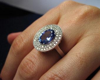 Oval Tanzanite Engagement Ring, Tanzanite Ring, Diamond Antique Ring, Victorian Ring, Cocktail Ring, Vintage Ring, December Birthstone, Sale