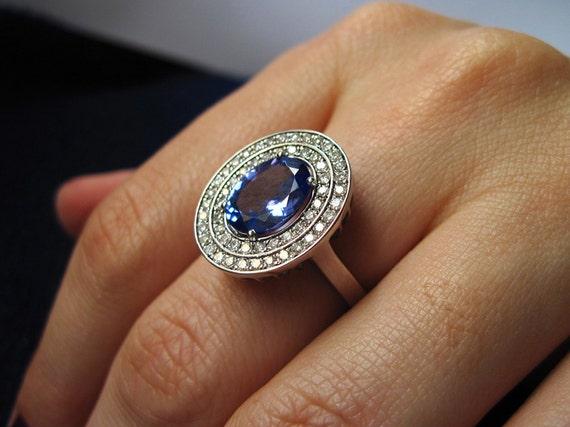 Oval Tanzanite Engagement Ring, Tanzanite Ring, Diamond Antique Tanzanite Ring, Tanzanite Cocktail Ring, Vintage Tanzanite Ring, December