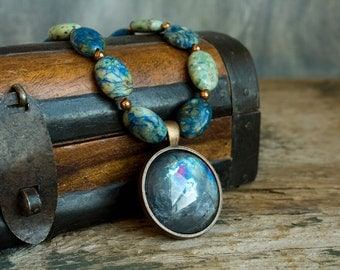 Blue Stone and Glass Necklace, Chrysocolla Copper Antiqued Glass Mirror Necklace, Dark Rustic Boho Statement Necklace