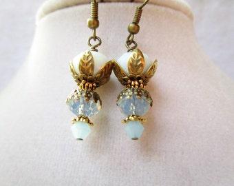 Opalescent Blue & White Crystal and Brass Flower Petal Dangle Earrings