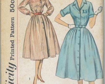 2458 UNCUT 1950's Women's Shirt Dress Sewing Pattern Simplicity 2458 Bust 36