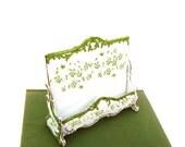 Antique French Porcelain Card Holder Ahrenfeldt SAXE Letter Stand Mint Green Floral Vintage Ladies Desk Accessory Victorian Era