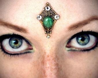 Aventurine Bindi, gemstone cabochon, tribal fusion, third eye, forehead jewelry, gold, green, wicca, fairy, pagan, fantasy, bellydance, fae