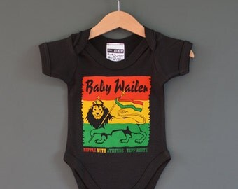 Baby Wailer Reggae Baby Grow (Onesie, Bodysuit, Romper). A Rasta Baby tribute to Bob Marley and The Wailers.