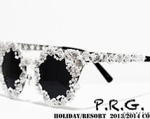 Victorian Inspired White Beaded Rosette Trim Caged Cateye  Embellished Sunglasses