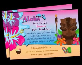Printable Hawaiian Luau Party Invitations -  Personalized - Custom - Birthday