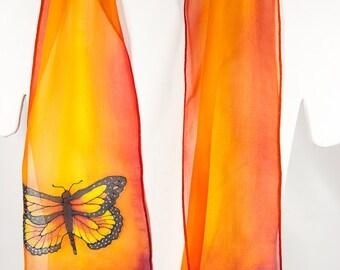 "Butterfly Silk Scarf / handpainted silk scarves. Hand painted silk scarf. Monarch Butterfly silk scarf. 8""x52"" chiffon. orange silk scarf"