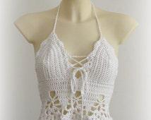 White halter top - beautiful white top, sexy crochet top bra, hippie white top, summer tank, festival crochet tank. Best seller.