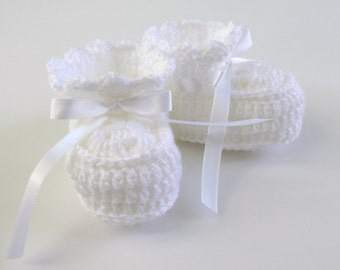 White Newborn Booties, 0-3 Month Baby Shoes Gender Neutral, Baby Booties Gift