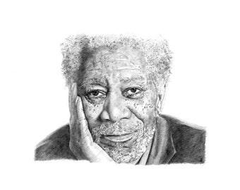 MORGAN FREEMAN pencil drawing