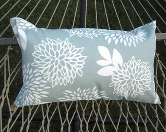 Aqua Outdoor Pillow Cover- hammock swing 14x26 Lumbar Pillow Covers- Velcro Loops for Latching
