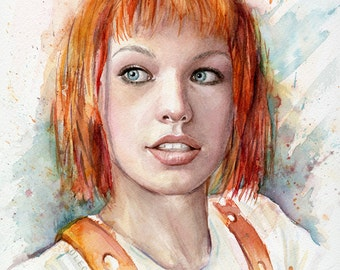 Leeloo Portrait, Multipass, Leeloo Art, Leeloo Print, Leeloo Watercolor, The Fifth Element Art Print, Watercolor Painting, Sci-Fi Fan Art