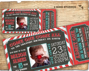 Circus invitation - carnival party invitation - Circus party or carnival birthday invitation - Circus ticket chalkboard printable invitaiton
