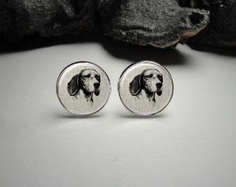 Beagle Earrings, Beagle Linen Earrings, Beagle Jewelry,  Dog Earrings, Gift for Her, Beagle Studs, Beagle Dangled Earrings