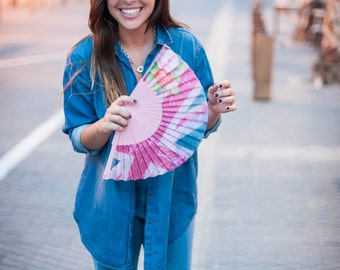 Designer HAND FAN | Union Jack pink grunge print | Great Britain flag | womens fashion | unique gift for her | Free Shipping Worldwide